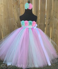 Mint and Pink empire waist tulle tutu dress by LittleLadybugTutus