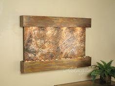Adagio Wall Fountains - Sunrise Springs - Square Rustic Copper Finish w/ Brown Rainforest Marble