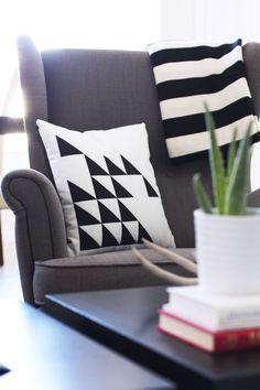 DIY Decorating With Shutterfly — Kristi Murphy Diy Pillow Covers, Decorative Pillow Covers, Cushion Covers, How To Make Pillows, Diy Pillows, Custom Pillows, Cushions, Black And White Pillows, Black White