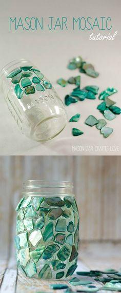 Mason Jar Craft Ideas - Mason Jar Mosaic - Mosaic Craft - @Mason Jar Crafts & Get Creative with these 44 DIY Mason Jar Crafts | Pinterest | Mason ...