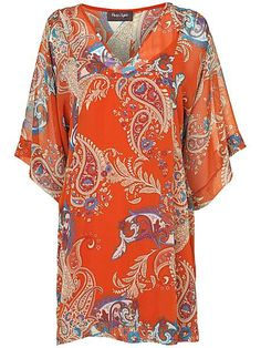 Phase eight. a paisley tunic with a v-neck and elbow length sleeves.