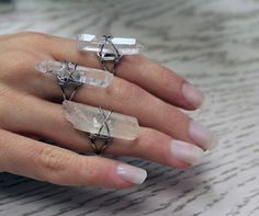 Clear Raw Quartz Ring - We are the Hellaholics