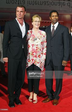 Actors Liev Schreiber, Denzel Washington and Meryl Streep attend the 'The Manchurian Candidate' Premiere at the 61st Venice Film Festival on September 2, 2004 in Venice, Italy.