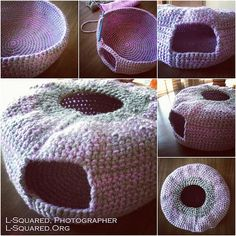 Pale-purple and grey igloo-shaped cat bed with an arched opening in the side and a round opening in the top.