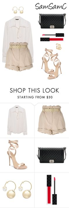 """""""Untitled #234"""" by samchoo ❤ liked on Polyvore featuring Plein Sud, Moschino, Giuseppe Zanotti, Chanel, Witchery, Gucci and Hueb"""