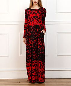Take a look at this Red & Black Scrolling Maxi Dress on zulily today!