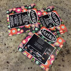 9 year old birthday party invitation, blackboard, ziggy zinnia, vera bradley