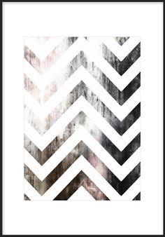 Grafisk plansch med sicksack mönster. Posters och prints med mönster i svartvitt och färg. Denna tavla är snygg som del i en modern och trendig tavelvägg. Affisch som passar bra i många olika inredningsstilar.