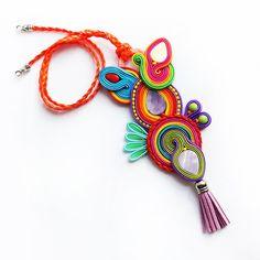 Colourful and unique pendant Soutache por MrOsOutache