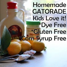 Homemade Sports Drink w/ lemon, BS, salt, and honey > Homemade Gatorade alternative that kids and moms love! Contains electrolytes so you feel your best. Yummy Drinks, Healthy Drinks, Healthy Snacks, Healthy Recipes, Eat Healthy, Yummy Recipes, Healthy Life, Sin Gluten, Gluten Free