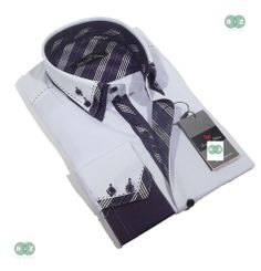 Brand New Men's Formal, Smart, Lilac with Purple Double Collar Slim Fit Shirt, with an Amazing White, Purple with a Hint of Black, Plaids & Checks Contrast - NEW DESIGN