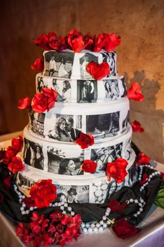 red white and black wedding cakes epic wedding in los angeles california weddings black white red cake Black Red Wedding, Red And White Weddings, Red Wedding Flowers, Black Wedding Cakes, Red Flowers, Red Roses, Wedding Colors, Creative Wedding Cakes, Wedding Cake Designs