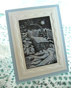 handmade winter card from stamping up north with laurie ... stamped winter evening scene ... luv the die cut framing with scalloped inner edges ...