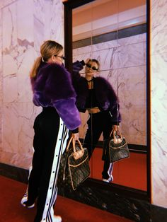 Ultra Violet, faux fur, fur free, Sofia Richie, Bella, Kendall, hotel, lobby, small sunglasses, vibes, on trend, bomber jacket, cool, Adidas, vintage, on trend, vibes , mirror, reflection