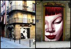 Red haired face and garage faces collage street art Barcelona