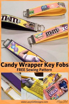 Make these cute, quick, and easy candy wrapper gifts. Go ahead and eat the candy, then use the candy bag to make these craft key fobs. Easy Sewing Projects, Sewing Projects For Beginners, Sewing Hacks, Sewing Tutorials, Sewing Tips, Craft Projects, Craft Ideas, Sewing Patterns Free, Free Sewing