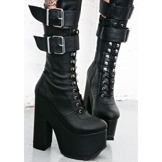 Demonia Torment Platform Boots ($100) ❤ liked on Polyvore featuring shoes, boots, leather shoes, lace up zipper boots, zip boots, lace up boots and wrap boots