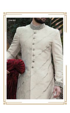 Latest Men Sherwanis Designs Groom Wedding Collection consists of fancy and embroidered couture dresses, sherwanis and vest coats. Sherwani For Men Wedding, Wedding Dresses Men Indian, Sherwani Groom, Fall Bridesmaid Dresses, Bridal Dresses, Wedding Outfits, Blue Sherwani, Diana Wedding Dress, Wedding Dresses Plus Size