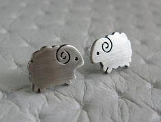 Little Sheep Earrings Studs- Handmade Sterling Silver Jewelry. $25.00, via Etsy.