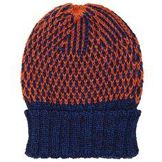Buy JOHN LEWIS & Co. British Wool Birdseye Beanie Hat, One Size, Orange/Navy Online at johnlewis.com