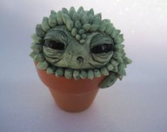 Cactus fait main Sculpture mignonne créature en pot plante cactus verts