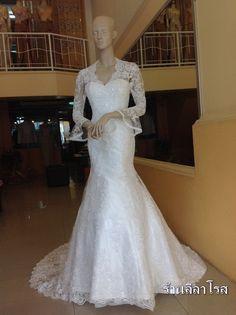 ชุดแต่งงาน แขนยาว ปลายแขนบาน Mermaid Style http://www.thaitopwedding.com/