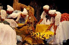 Afro-Brazilian vodoun folkloric ballerina troupe from Bahia,Brazil at Aneho.Togo
