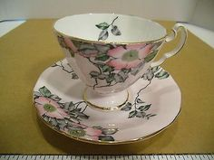 Pink and gray teacup
