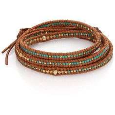 Chan Luu Beaded Leather Multi-Row Wrap Bracelet ($215) ❤ liked on Polyvore featuring jewelry, bracelets, apparel & accessories, brown, 18k jewelry, beaded jewelry, wrap bracelet, beading jewelry and leather wrap bracelet