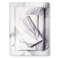 Cotton Sateen Sheet Set (California King) Palm Print Gray 300 Thread Count - Nate Berkus, Gray White