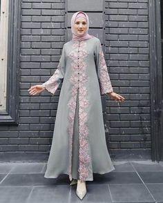 Image may contain: 1 person, standing Hijab Dress Party, Hijab Style Dress, Dress Brokat, Kebaya Dress, Abaya Fashion, Fashion Dresses, Moslem Fashion, Mode Abaya, Muslim Dress