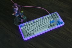 b7ad's (/r/MK) GON NerD TKL. The caps are BSP 'classic beige' blue legend thick pbt and the blue keys are GMK doubleshots