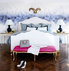 Foot of the Bed in this glamorous bedroom.