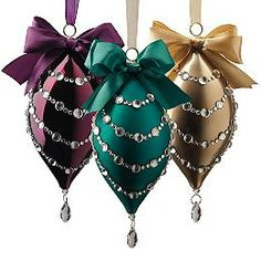 Set of Six Glass Teardrop Ornaments with Crystals and Bows