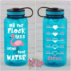 Oh for flock sake drink your water, water bottle, motivational water bottle with hourly time tracker, water bottle tracker Water Bottle Tracker, Water Reminder, Pool Water, White Vinyl, Adhesive Vinyl, Drinking Water, Boyfriend Gifts, Diy Gifts, Motivation