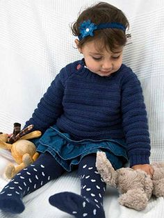 Chippy Sweater from Easy Knits for Babies Martin Storey's collection of 14 projects of easy knits for babies from birth to eighteen months includes simple cardigans, cosy hoodies and a cool striped blanket perfect for the buggy or nursery | English Yarns