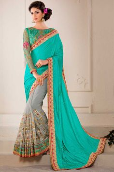 Robin Egg Blue and Light Gray Chiffon and Silk Embroidered Party Saree Price:  $152.19 http://www.sareez.com/robin-egg-blue-and-light-gray-chiffon-and-silk-embroidered-party-saree-493-8033sa788859.html