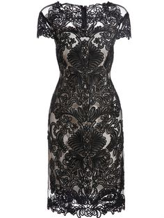 Black Round Neck Short Sleeve Bodycon Lace Dress