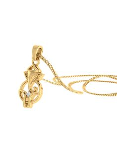 real diamond embellished 14k yellow gold lord ganesha pendant without chain