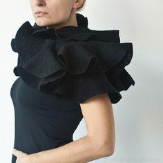 Nuno Felted Ruffle Shawl / Silk and Wool Scarf - Black Elegance - For Gothic Weddings, Any Special Occasion or Everyday Wear