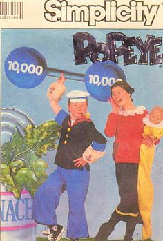 """Simplicity 8831 Popeye and Olive Oyl Costume Pattern Adult Size Sm, Sweet Pea Costume Pattern Included Baby Size up to 18 Months or Doll up to 31"""" by Simplicity Co http://www.amazon.com/dp/B009INSCE6/ref=cm_sw_r_pi_dp_ogpPtb1YK6C4DTVX"""