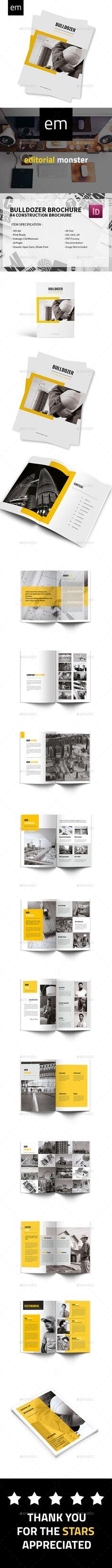 Bulldozer - A4 Construction Brochure Template - #Corporate #Brochures Download here: https://graphicriver.net/item/bulldozer-a4-construction-brochure-template/19510732?ref=alena994
