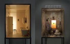 Amazing miniature rooms (1/7 scale) by Charles Matton, they are the libraries, bedrooms, bathrooms etc., of famous writers and artists. Fantastic.