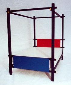Gerrit Rietveld De Stijl painted 4 poster double divan bed  and bedroom furniture