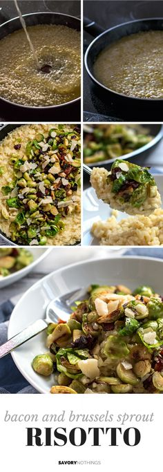 Bacon and Brussels Sprout Risotto | savorynothings.com - no parm, soy free earth balance instead of butter