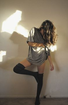 black socks knee-high grey gray slouch lean LIGHT Hair Like Mine  sexy    bare walls white black skin bareSKIN.