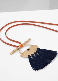 Tassel bead necklace   MANGO