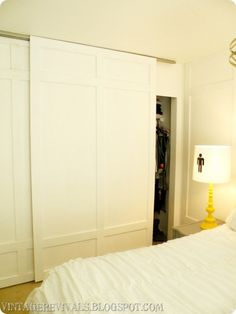 DIY Closet Door Ideas I had a reader ask about updating her old closet doors. There are many things you could do to either update the door or just take them off completely and find a budget friendly replacement. A si. Bedroom Barn Door, Bedroom Closet Doors, Bedroom Decor, Master Closet, Closet Door Alternative, Door Alternatives, Closet Door Makeover, Ikea, Bois Diy