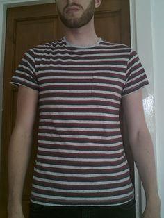 Men's medium sized striped (Red/Black/Grey) T-shirt - Cedarwood State   eBay