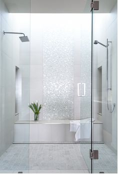 Waterfall effect with tile. Combo of shower and tub as a wet room